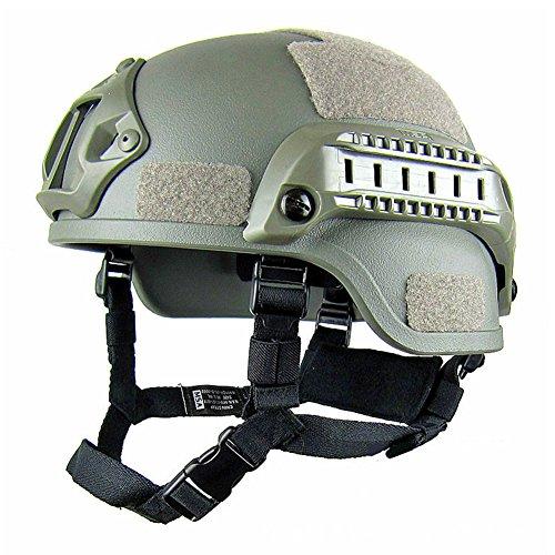 Gezichta Gefechtshelm mit Halterung für Nachtsichtgerät und Seitenschiene für Softgun / Paintball-Waffe, im Mich 2000Stil, armee-grün