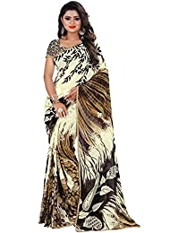 Kalaa Varsha Women's Synthetic Georgette Unstitched White & Brown Colored Floral Print Saree_5282a