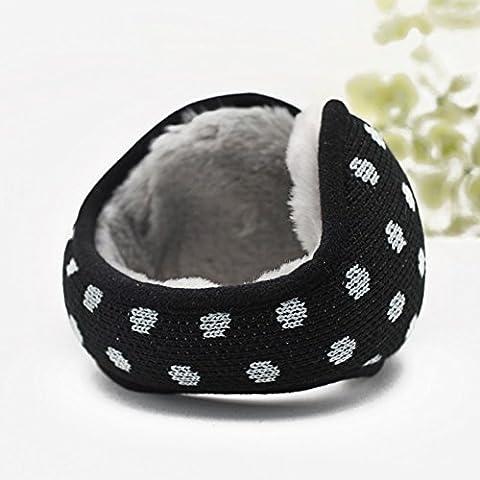 MEICHEN-Cuffie in maglia di lana a puntino polka giovane inverno caldo eleganti cuffie earmuff (Polka Peluche)