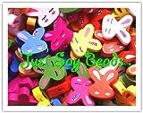 20 x Colourful Wooden LOVE 'RABBIT' Beads (20mm) + *FREE! Elastic Beading Thread* - *CHILDREN'S BEADS*