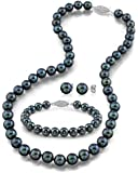 "14K Gold 6.0-6.5mm Black Akoya Cultured Pearl Necklace, Bracelet & Earrings Set, 18"" - AAA Quality"