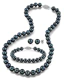 "14K Gold 7.5-8.0mm Black Akoya Cultured Pearl Necklace, Bracelet & Earrings Set, 18"" - AA+ Quality"