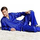 Herren Seide Schlafanzug Pyjama Homewear Streifen Blau Large