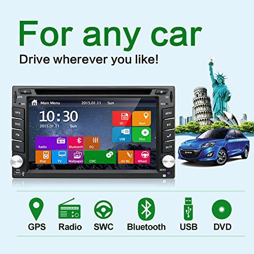 dernière Win 8UI Design 15,7cm Intégré au Tableau de bord double DIN écran LCD tactile de navigation de voiture vidéo audio radio Auto stéréo avec Bluetooth, caisson de basses Sortie + Gratuit antenne GPS + GPS carte + Riview Camera