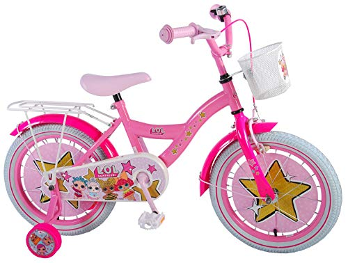 Unbekannt LOL Kinderfahrrad 16 Zoll Mädchen Fahrrad ab 4 Jahre Rücktrittbremse Stützräder Korb Pink