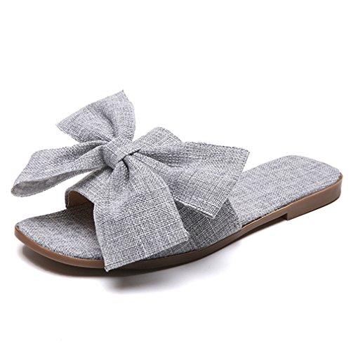 Kkggvbag nuove infradito piatte da donna con fiocco grande, scivoli estivi, pantofole antiscivolo da casa gray 38