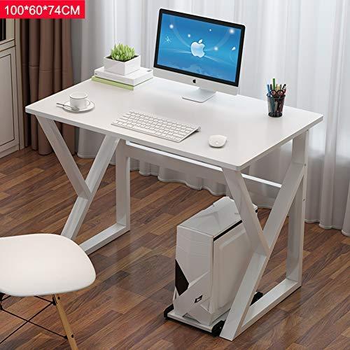 YSA K-Type Frame Home-Office-Schreibtisch Computertisch, Computerarbeitsplatz Schreibtisch, Simplistic Leg Pads Workstation Haltbarkeit-Weiß 100x60x74cm (39x24x29inch) (White X-frame Schreibtisch)