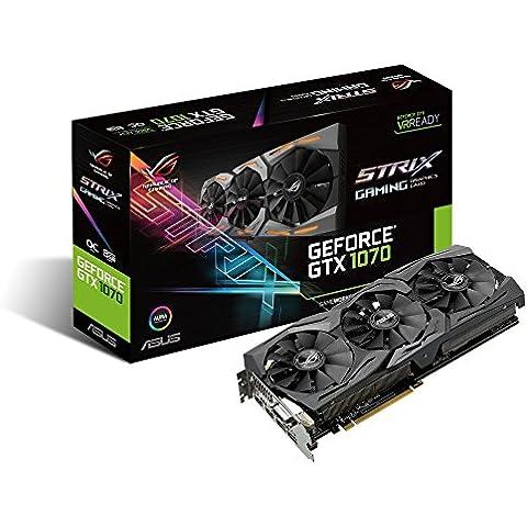 Asus ROG-STRIX-GTX1070-08G-GAMING - Tarjeta gráfica (Strix, NVIDIA GeForce GTX 1070, 8 GB, GDDR5, DVI-D, HDMI, DP), color negro