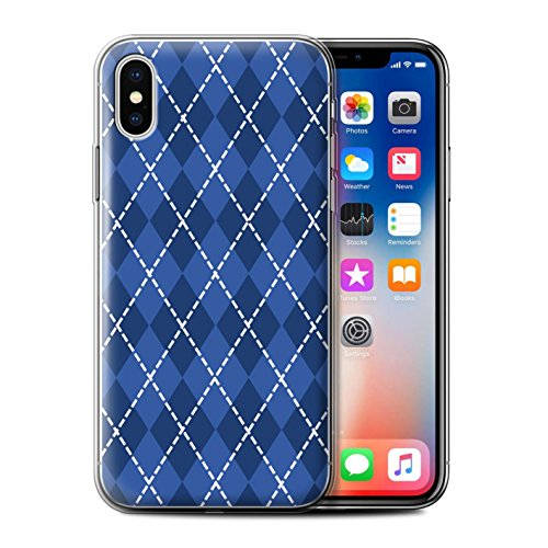 Stuff4 Gel TPU Hülle / Case für Apple iPhone X/10 / Magisches Einhorn Muster / Blau Mode Kollektion Winter Argyle