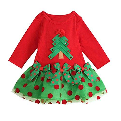 Arrowhunt Baby Mädchen Weihnachtskleid Weihnachtskostüme Weihnachtsbaum (Weihnachtsbaum Kleid Kostüme)