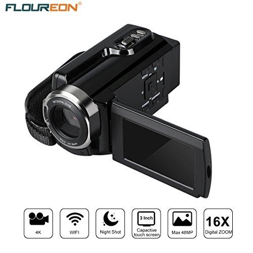 FLOUREON Caméra Vidéo Caméscope 4K Ultra-HD 48 MP 3.0 pouces LCD capacitif 270 degrés Rotation avec écran tactile AP mode WIFI 16x Zoom numérique