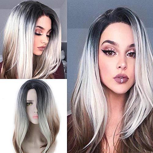 Oyedens Perücke Gesicht Reparieren Zwei-Farbigen Bleichverlauf Lange Lockiges Haar, Zweifarbiges Haar Rose Haarnetz Zweifarbiges Bleichverlauf Perücken Für Frauen Perücke