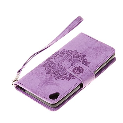 Mokyo Sony Xperia XA Hülle mit Frei Bildschirmschutz,Premium Flip Karte Halterung PU Leder Brieftasche Prägung Mandala Muster mit Kartenfächer Magnetverschluss Stand-Funktion Beschützer Handy Schutzhü Lila