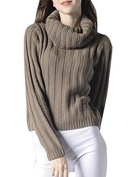 ELLAZHU Moda mujer Turndown Clooar mangas largas suéter superior YY55 gris L