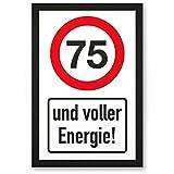 DankeDir! 75 Jahre Voller Energie, Kunststoff Schild - Geschenk 75. Geburtstag, Geschenkidee Geburtstagsgeschenk Fünfundsiebzigsten, Geburtstagsdeko/Partydeko / Party Zubehör/Geburtstagskarte