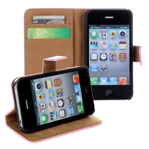 MOONCASE Coque en Cuir Portefeuille Housse de Protection Étui à rabat Case pour Apple iPhone 5C Rouge Blanc
