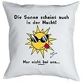 Comic-Kissen-Bezug/Deko-Bezug 40x40 ohne Füllung: by Gali Die Sonne scheint auch in der Nacht! Nur nicht bei uns?