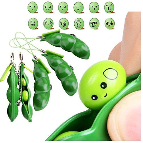 Squeeze-a-Bean Soja Squeeze Schlüsselanhänger Anhänger Zappeln Squeeze Stress Spielzeug Mobile Keychain Squeeze Spielzeug 3 teile / satz (Relief Bund)