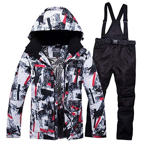mingliang Impermeabile Antivento Tuta da Sci da Uomo, Traspirante Caldo Abiti da Snowboard Pantaloni Set Black-M