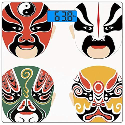 Kabuki Kostüm - Digitale Präzisionswaage für das Körpergewicht Platz Kabuki Maskendekoration Ultra dünne ausgeglichenes Glas-Badezimmerwaage-genaue Gewichts-Maße,Kulturdrama Kostüme Künstlerischer Orient Masken Ethni