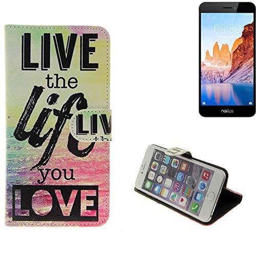 K-S-Trade Für TP-LINK Neffos C7A 360° Wallet Case Schutz Hülle ''live The Life You Love'' Schutzhülle Handy Hülle Handyhülle Handy Tasche Etui Smartphone Flip Cover Flipstyle für TP-LINK Neffos C7A