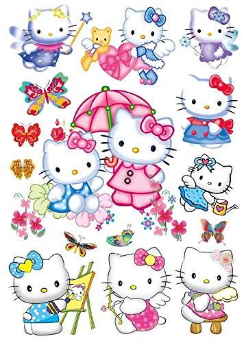 Funky Planet Wandaufkleber Luftballons Flugzeuge Autos Tiere Wandaufkleber Wanddekoration für Wohnzimmer Schlafzimmer Kinderzimmer (50x70, Hello Kitty) (Wand Kitty-bilder Hello Die Für)
