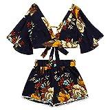 Landfox Conjunto Informal de Dos Piezas Para Mujer Botanical Print Verano V Collar Top Shorts Ropa de Playa Mujer Camiseta Básica de Algodón (S)