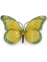 Broche, diseño de mariposa, cristal chapado en rodio, esmaltado, 65 mm, color verde oliva y verde claro