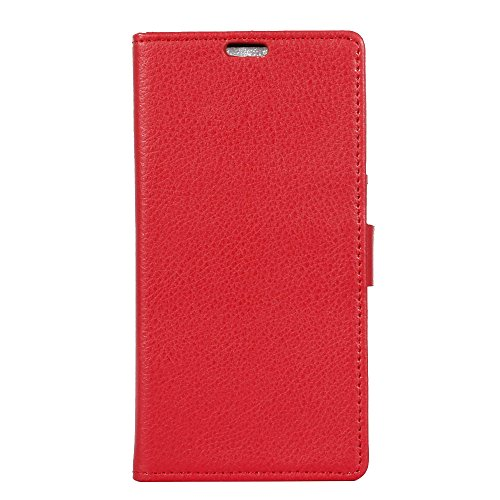 ZTE Blade V Plus V580 Lederhülle, CaseFirst Prime Handyhülle Stoßfest Schutzhülle Brieftasche Hülle Magnet Cover Anti-kratzer PU Leather Wallet Case mit Karte Slots und Supporter (Rot)