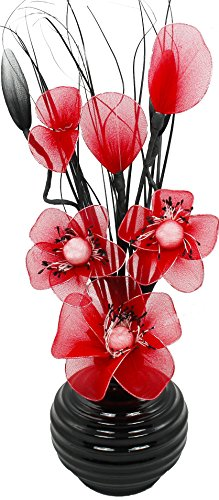 Marvelous Flourish 705817 813 Black Vase With Red Nylon Artificial Flowers In Vase,  Fake Flowers, Ornaments, Small Gift, Home Accessories, 32cm Part 9