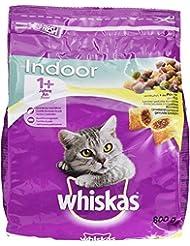 Whiskas Katzenfutter Trockenfutter Indoor für Hauskatzen mit Huhn, 800 g