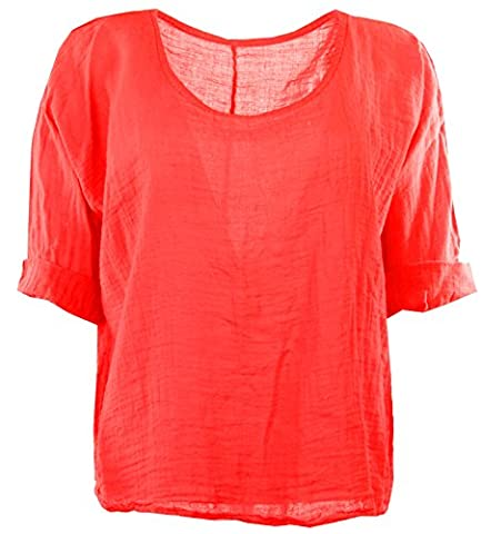Womens Italian Quirky Lagenlook Plain Linen Comfy Casual Ladies Blouse Crop or Hip Top Plus Sizes