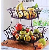 LVPY H/ängekorb Obstkorb Set aus Metall 3 -fach Obst- und Gem/üseampel Schwarz K/örbe 23 x 23 x 9 cm