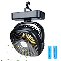 TOMNEW Portable Camping Fan with LED Lights,USB or 4400 mAh Rechargeable Battery Powered, Tent Fan Lights/Personal USB Desk Fan with Hook for Camping,Hiking,Office,Bedroom and Outdoor Activities