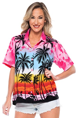 LA LEELA Kurze Ärmel Kragen Palme Druck Bademoden Partei Aloha Hawaii-Hemd Strand Bluse zuknöpfen Frauen Rosa_W964 XXL - DE Größe :- 50-54
