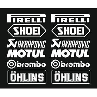 1x Set Nr.3 (12 Aufkleber weiss ,Farbwahl) PIRELLI AKRAPOVIC Tuner Logo 16cm Decal Tuning Aufkleber Sticker Auto Motorrad Pick Up