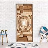 Haipeiy Türaufkleber 3D Szene Ansicht Wandaufkleber DIY Wandbild Schlafzimmer Wohnkultur Poster PVC Wasserdichte Tür Aufkleber 77X200cm