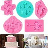 5 Stücke Kreuz Kuchen Fondant Form Kreuz Form Taufe Kuchen Dekorationen Taufe Kuchen Toppers für Taufe Party Lieferungen, DIY Kuchen Machen