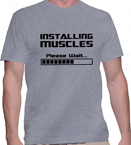T-shirt da uomo con Installing Muscles Please Wait stampa. Girocollo. X-Large, Grigio