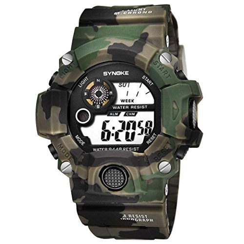 LCLrute Mode Herren Outdoor-Nachtlicht wasserdichte elektronische Uhr SYNOKE Herren Multi-Funktions-Sportuhr LED Digital Dual Movement Armbanduhr (Grün)