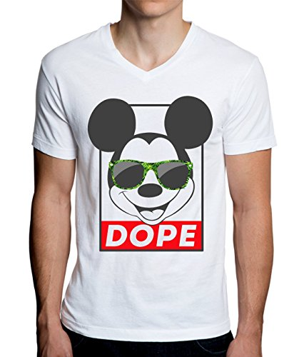 Mickey Mouse With Weed Sunglasses Dope Funny Graphic Design Men's V-Neck T-Shirt Medium