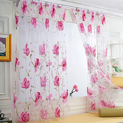 ☺HWTOP 1 STÜCKE Reben Blätter Tüll Türfenstervorhang Drapieren Panel Floral Print Sheer Schal Volants Vorhang Voile Transparent Vorhänge (Rot, 250 cm x 100 cm) (Print-panel Vorhänge)