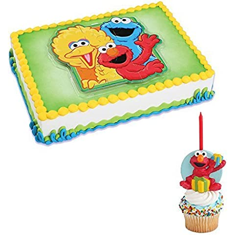 Sesame Street Cake Topper Puzzle and Elmo Candle by Bakery Crafts - Sesame Street Topper