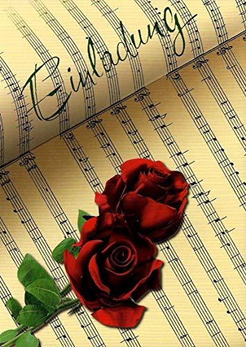 Einladungskarten zum Geburtstag für Erwachsene Mann und Frau mit Innentext Motiv rote Rose Noten 10 Klappkarten DIN A6 mit weißen Umschlägen im Set Einladung Geburtstag Frau Mann K119