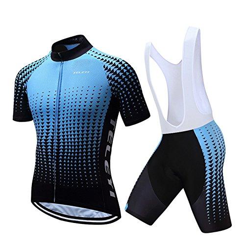 CHUANGQIF Herren Radtrikot Anzug Bike Biking Set Kurzarm Radtrikot + Radfahren Kurze Hosen Wasserdicht Quick Dry Radfahren Kleidung, Blue 1 -