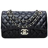 Damen Handtaschen Crossbody Taschen Kette Schultertaschen Fashion Mini Bags28x16x8cm(Black2, One size)