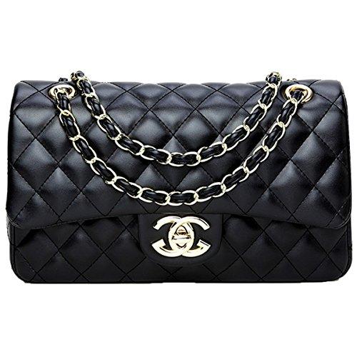 liyuan Handtaschen Messenger Bag Lingge Kette Paket Schulter Mode Mini Tasche (Black7, OneSize) - Chanel Schwarz Leder