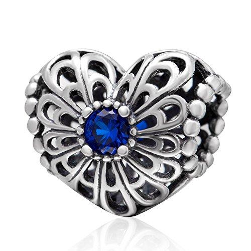 Openwork, charm a forma di cuore e margherita, in argento Sterling 925 con zirconi di colore azzurro