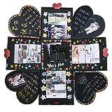 VEESUN Caja de Regalo Creative Explosion Box, DIY Álbum de Fotos Amor Memory Album Caja Fotos Regalos Originals para Aniversario de Boda Cumpleaños Navidad para Mujer Niña Novios Novia, Negro
