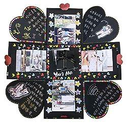 VEESUN Explosionsbox, Kreative Überraschung Box Handgemachtes Fotoalbum zum Selbstgestalten Schwarze Seiten Scrapbook, DIY Hochzeit Jahrestag Geburtstags Weihnachten Geschenkbox, Schwarz, MEHRWEG